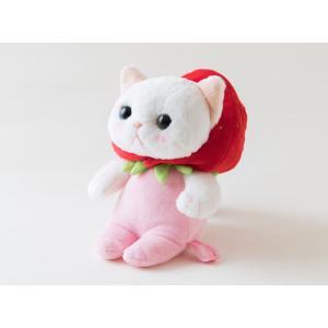 ぬいぐるみ 猫 いちごコスチューム 白猫 Sサイズ フルーツ猫 choochoo本舗 チューチュー本舗 ねこ ネコグッズ 猫雑貨 薔薇雑貨のおしゃれ姫|osyarehime|05