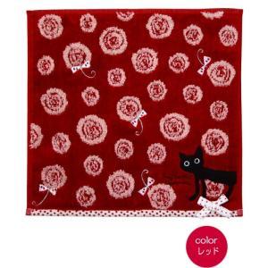 タオルハンカチ ジャガード織り リボン 黒猫 かわいい 売れ筋 ノアファミリー おしゃれ(猫グッズ 猫雑貨 猫 グッズ 雑貨 ねこ ネコ 猫柄 小物) osyarehime 02