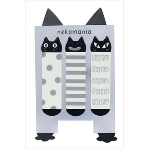 ふせん フィルム書けるニャン付箋 トリオ猫 スタンド型 付せん ノアファミリー おしゃれ(猫グッズ 猫雑貨 猫 グッズ 雑貨 ねこ ネコ 猫柄 小物)|osyarehime
