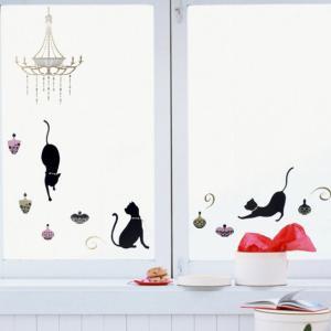 ウォールステッカー きらきらシャンデリアとねこ インテリアステッカー 壁飾り キズ隠し (猫グッズ 猫雑貨 猫 グッズ 雑貨 ねこ ネコ 猫柄 小物)|osyarehime