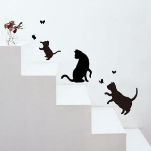 ウォールステッカー インテリアステッカー おしゃれ モノトーン 動物 猫 雑貨 小物 グッズ ねこ ネコ 猫柄 猫雑貨 猫グッズ レディース かわいい ギフト包装無料|osyarehime