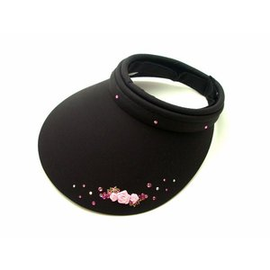 サンバイザー ピンクのお花モチーフ ラインストーン付き レディース キラキラ おしゃれ UV 人気|osyarehime