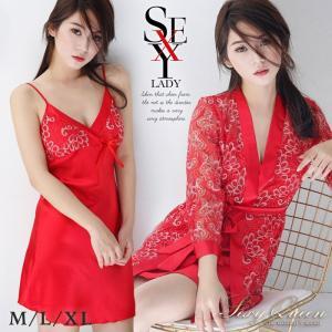 フラワーレース&赤サテンのガウン+ベビードール+帯のセット M/L/XL  red|osyarevo