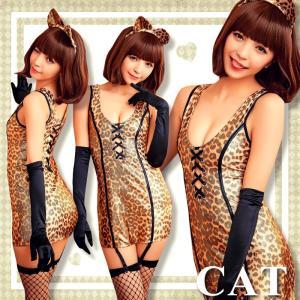 ハロウィン コスプレ 猫 レディース ねこ耳 衣装 仮装 アニマル コスチューム かわいい セクシー|osyarevo
