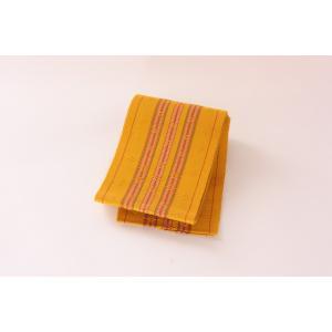 経産省指定の伝統工芸品 首里花織半巾帯 黄色地 赤縞|osyu-tanagura