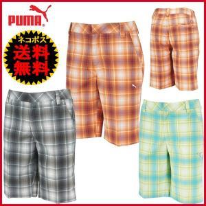 処分!プーマ ゴルフウェア PUMA オンブルブレイドテックショーツ 563661 チェックハーフパンツ|otakara-golf