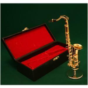 ミニチュア楽器 テナーサックス 1/6サイズ ゴールド|otanigakki