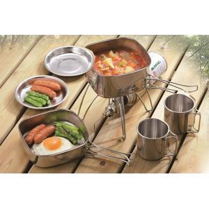SOLA/ソラ 角型キャンピングクッカー6点セット ステンレス製鍋・フライパンセット 食器 キャンプ アウトドア 非常用|otasuke|03