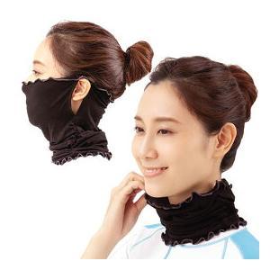 【ネコポス:送料無料】 UVカット率99%UPF50+の最高ランクの紫外線対策フェイスマスク。 気化...