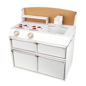 ノリやハサミなどの道具は不要で組み立てることができるダンボールキッチン。 白地なのでお好みに色を塗っ...