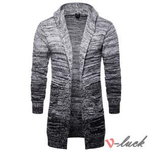ニットセーター カーディガン メンズ ニット ジャケット はおり ロング丈 フード付き カットソー セーター アウトドア 春服|otasukemann