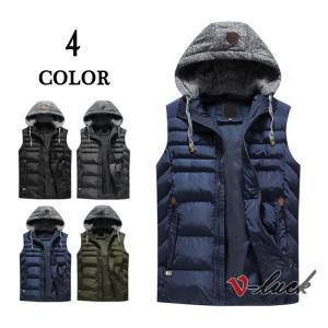 ベスト メンズ 中綿ベスト おしゃれ ジャケット ミリタリー フード付き ダウンベスト 羽織り 綿入り アウター 防寒着 春物|otasukemann