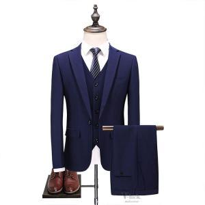 紳士服 3ピーススーツ メンズ スリーピーススーツ ビジネススーツ 1つボタン スリムスーツ 無地 結婚式 卒業式 新生活 入学式 3点セット|otasukemann