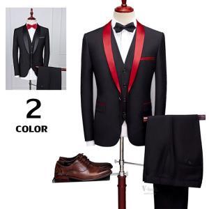 スリーピーススーツ メンズ ビジネススーツ 1つボタン 3ピーススーツ 紳士 スリムスーツ 結婚式 入学式 新生活|otasukemann