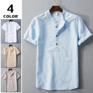 リネンTシャツ メンズ トップス Tシャツ カットソー 半袖Tシャツ 夏 サマー カットソー リネンシャツ カジュアル Tシャツ 無地|otasukemann