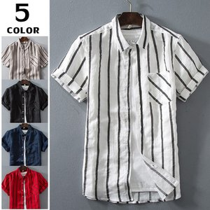 カジュアルシャツ リネンシャツ メンズ 半袖 無地 半袖シャツ ストライプ柄 ルームウェア 涼しい お兄系 綿 麻 サマー 夏|otasukemann