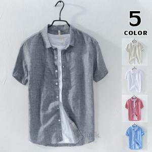 シャツ メンズ 半袖 リネンシャツ 綿麻 カットソー ルームウェア 半袖シャツ 40代 50代 トップス 無地 2019夏|otasukemann