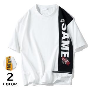英字 Tシャツ メンズ 半袖 Uネック プリントTシャツ シンプル カジュアル トップス 半袖Tシャツ 薄手 紳士 2019夏|otasukemann