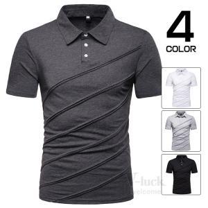 ポロシャツ Tシャツ メンズ カジュアルシャツ 半袖 POLO ゴルフウェア ゴルフシャツ 部屋着 無地 お兄系 夏|otasukemann