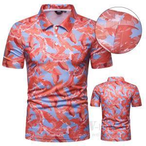 ゴルフウェア ポロシャツ メンズ 半袖 Tシャツ スポーツウェア POLOシャツ ゴルフシャツ 花柄 おしゃれ 夏物|otasukemann