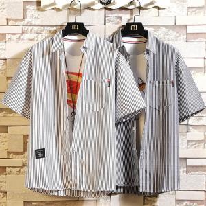 カジュアルシャツ メンズ ストライプシャツ 半袖シャツ トップス 40代 50代 開襟シャツ 半袖 2019 夏新作 送料無料|otasukemann