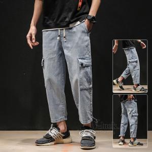 クロップドパンツ メンズ カーゴパンツ ジーンズ デニムパンツ 無地 ストレッチ ジーパン おしゃれ 送料無料|otasukemann