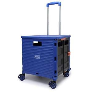 [BAGING バギング]ショッピングカート ストッパー付き 360°回転 4輪静音キャスター 折りたたみ 買い物カート LB007 (青) otc-store