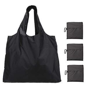 Luxja エコバッグ 3点セット 買い物バッグ 折りたたみ 大容量 軽量 黒 otc-store