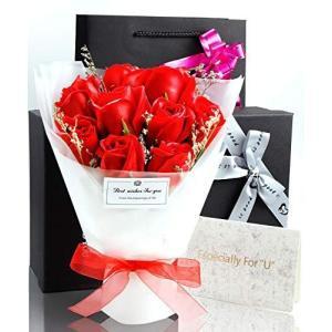 ソープフラワー 花束 プレゼント ギフト 誕生日 母の日 メッセージカード付き (赤)|otc-store