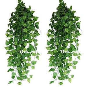 フェイクグリーン 人工観葉植物 24本セット【Xiaz】造花グリーンアイビー 緑 藤 ホーム オフィス 結婚式 パーティー 適用の植物装飾|otc-store