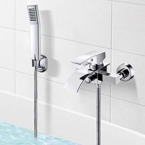 浴室水栓 蛇口 浴室用シャワー混合栓 お風呂混合水栓 シャワー付き混合水栓 壁付 冷温切り替え 風呂用 バス用 ユニットバス 浴室 浴槽 V otc-store