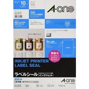 エーワン ラベルシール インクジェット 超耐水 光沢紙 A4 ノーカット 10シート 64201E otc-store