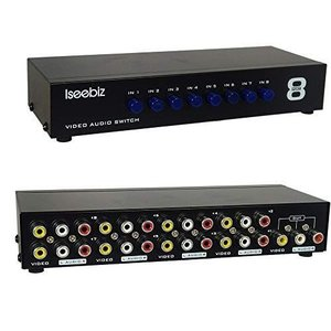 Iseebiz AV切替器 スプリッタ コンポジット スイッチャー 双方向 8入力1出力/1入力8出力 機械式 電源不要|otc-store