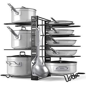 フライパンラック?鍋収納?鍋ラック(8仕切り?フライパンスタンド)?ポットラック 収納キッチンラック 鍋蓋収納 省スペース 高さ調整できる?|otc-store
