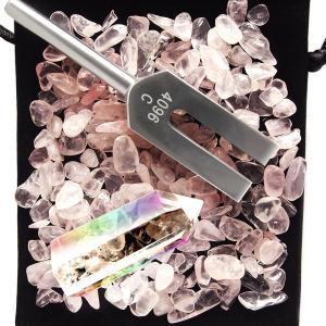 ・【商品内容】4096Hzチューナー(約11cm×2.5) / 天然水晶(約5cm)/ 収納ポーチ ...