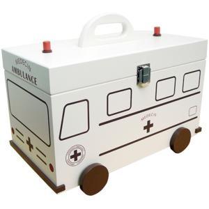 おしゃれでカワイイ 木製救急箱 救急車型 イシグロ 60057の写真