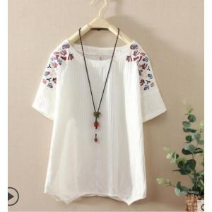 シャツブラウス半袖 綿麻Tシャツ刺繍カジュアルトップス二点送料無料エスニック風ナチュラルリネン森ガール風 可愛い花柄エレガント きれいめ 大きいサイズ