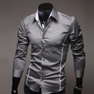国内発送二点送料無料シルエットライン入りドレスシャツ メンズ 長袖 スリムメンズファッション ワイシャツ カジュアル フォーマル