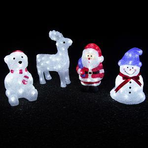 クリスマスイルミネーション モチーフライト 飾り おしゃれ かわいい 屋外対応 サンタクロース トナカイ シロクマ 3D Sサイズ|otogino