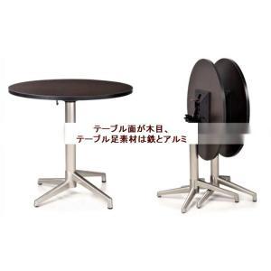 【折りたたみ机 丸テーブル式】 コンパクトデスク (木目 直径800mm×机高735mm)|otoheya