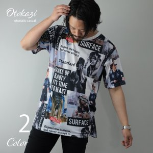 Tシャツ メンズ 半袖 プリント ボックスロゴ フォト ガールプリント 総柄 ビッグシルエット モノトーン 半袖Tシャツ プリントTシャツ ストリート 韓国系 個性的|otokazi