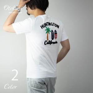 Tシャツ メンズ 半袖 サガラ刺繍 ヤシの木 パームツリー ロゴ サーフボード バック刺繍 プリント クルーネック 半袖Tシャツ トップス サーフ リゾート|otokazi