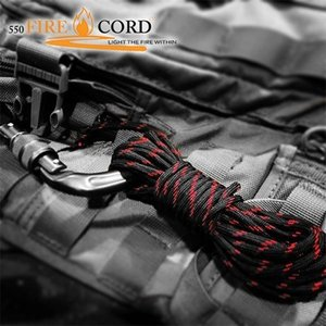 ブッシュクラフト Bush Craft Live Fire Gear 550 Fire Cord パラコード ロープ 7.62m 25ft 防水 着火剤 火口 ティンダーサバイバル アウトドア BBQ キャンプ