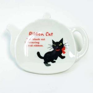 Ribbon Cat ティートレイ 黒猫