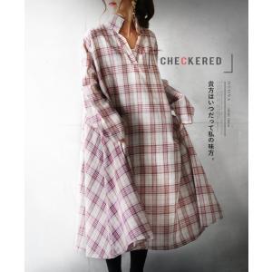 シャツワンピース ロング チェック 40代ファッション 大人かわいい ロングワンピース ゆったり 大...