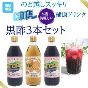 美味しく後味すっきり 3種類のフルーツ黒酢 美容 健康ダイエット マルボシ酢 ブルーベリー りんご 桃 3本セット 1本500ml 5倍希釈 各25杯分の画像