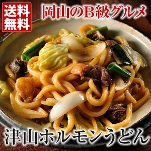 津山 ホルモンうどん (4食) 送料無料 ケンミンショー 国産ミックスホルモン 甘辛うどんタレ付