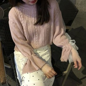ニット ショート レディーストップス 長袖  丸首 チュニック  シンプル 韓国風 プルオーバーセーター ゆったり 透かし彫り otto-shop