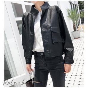 韓国レザージャケット合成皮革ジャケットラムジャケットライダー レディース レザージャケット|otto-shop