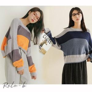 韓国ファッション セーター クルーネック ニット トップス カジュアル 大人カジュアル ラインニット ナンニング レディース otto-shop